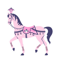 pink carousel horse vector image