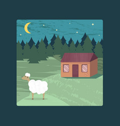 Poster with a rural landscape a lodge and a sheep vector