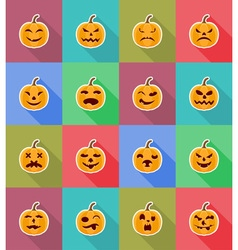 Pumpkins for halloween flat icons 18 vector