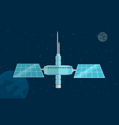 sapce station with a view to earth and moon vector image