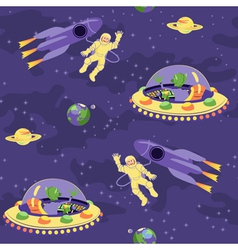 Seamless baby pattern Space adventure vector image