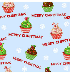 seamless pattern with christmas cupcakes vector image