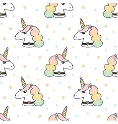 Seamless pattern with unicorn and stars vector