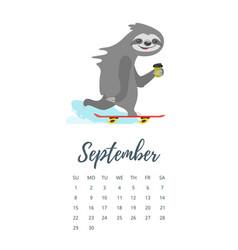 September 2019 year calendar page vector