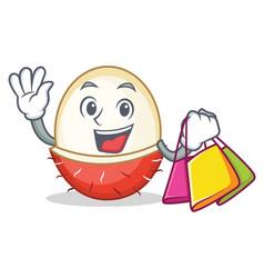 Shopping rambutan character cartoon style vector