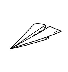 Simple paper plane doodle style - isolated vector