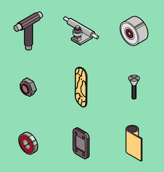 Skateboard spare parts icons vector