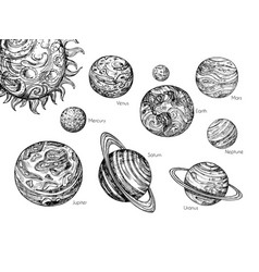 Sketch solar system planets mercury venus earth vector