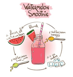 Sketch Watermelon smoothie recipe vector
