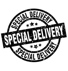 Special delivery round grunge black stamp vector