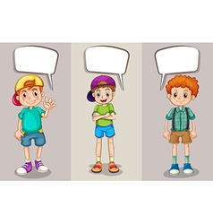 Speech bubble template with three boys vector image vector image