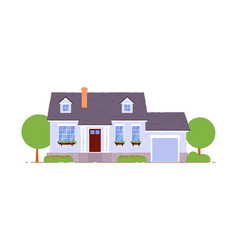 suburban cottage house with garage icon on white vector image