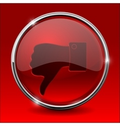 Thumb down icon Red round shiny button vector
