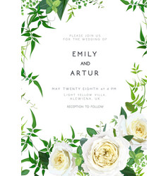 trendy greenery yellow wedding floral invite card vector image