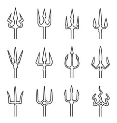 Trident outline icon set vector