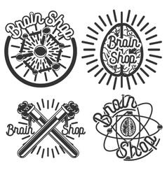 Vintage scientific shops emblems vector