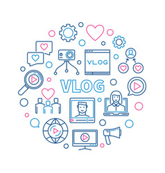 vlog round concept creative linear vector image