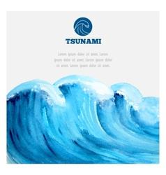Watercolor ocean tsunami waves vector