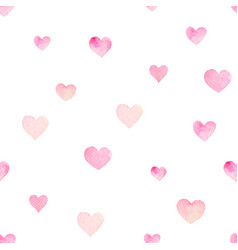 watercolor seamless pattern with hearts for vector image