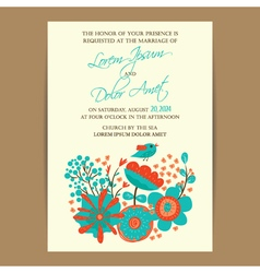Wedding invitation card with bird and flowers vector image