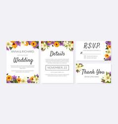 wedding invitation template set thank you rsvp vector image