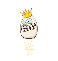 White egg king with crown cartoon characters vector