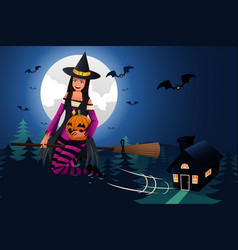witch flying in front of the full moon vector image