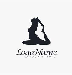 woman yoga pose logo icon template vector image