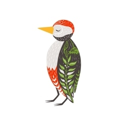Woodpecker Relaxed Cartoon Wild Animal With Closed vector image