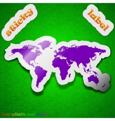 World map icon sign Symbol chic colored sticky vector