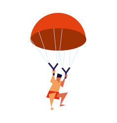 young boy flying with parachute icon vector image