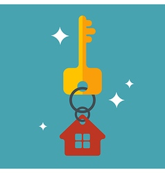 Flat with key and house tag isolated vector image vector image