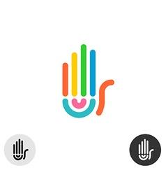 Hand colorful rainbow geometric linear style logo vector image vector image