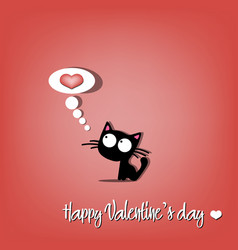 happy valentines day and cat vector image