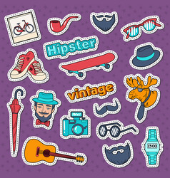 hipster style vintage stickers badges and patches vector image