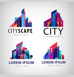 set of city scape building property logos vector image