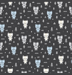 abstract seamless pattern with cute bears for vector image vector image