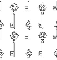 black and white seamless pattern with vintage keys vector image