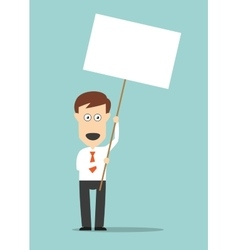 Businessman holding blank signboard with copyspace vector image
