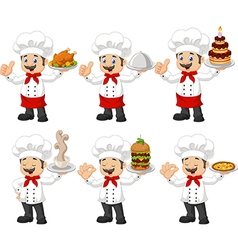 Cartoon chef collection set isolated vector image vector image
