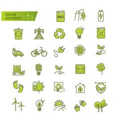 ecology green technology organic thin line vector image vector image