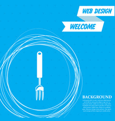fork icon on a blue background with abstract vector image