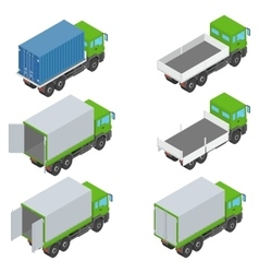 Isometric set of different trucks vector image