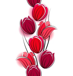 seamless vertical border with red tulips vector image vector image