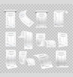 set of realistic paper checks vector image vector image