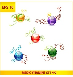 shiny and colored medic vitamin capsules pills set vector image