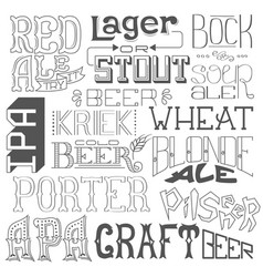 types of beer hand drawn lettering for bar pub vector image