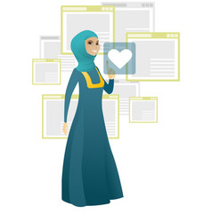 business woman pressing web button with heart vector image
