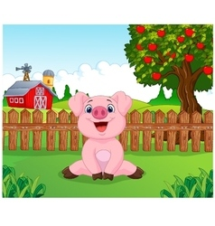 Cartoon adorable baby pig on the farm vector image vector image