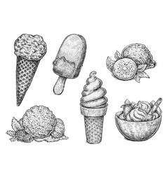 Collection of hand drawn ink sketches of ice cream vector image vector image
